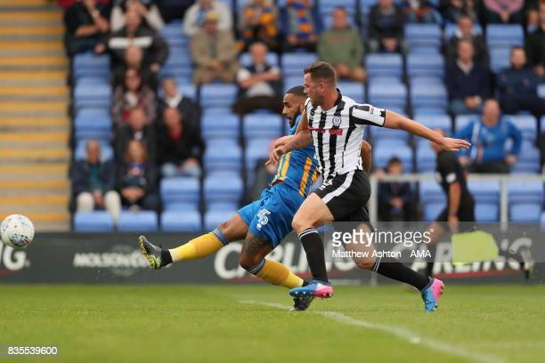 Stefan Payne of Shrewsbury Town scores a goal to make it 32 during the Sky Bet League One match between Shrewsbury Town and Rochdale at New Meadow on...