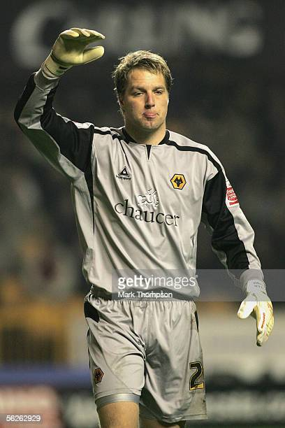 Stefan Postma of Wolverhampton Wanderers gestures during the CocaCola Championship match between Wolverhampton Wanderers and Sheffield United at...