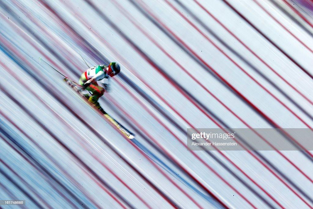 Stefan Prisadov of Bulgaria skis in the Men's Giant Slalom during the Alpine FIS Ski World Championships on February 15, 2013 in Schladming, Austria.