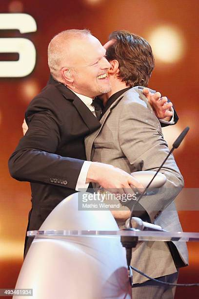 Stefan Raab accepts his award 'Ehrenpreis' from Bully Herbig at the 19th Annual German Comedy Awards show at Coloneum on October 20 2015 in Cologne...