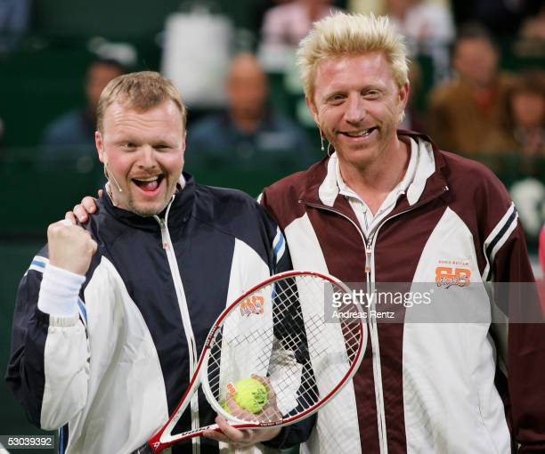 Stefan Raab and his television show 'TV Total' present a show doubles match with Boris Becker and entertainer Stefan Raab against former player...