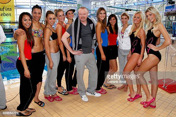 Stefan Raab and participant attend the TV Total Turmpringen photocall on November 28 2014 in Munich Germany