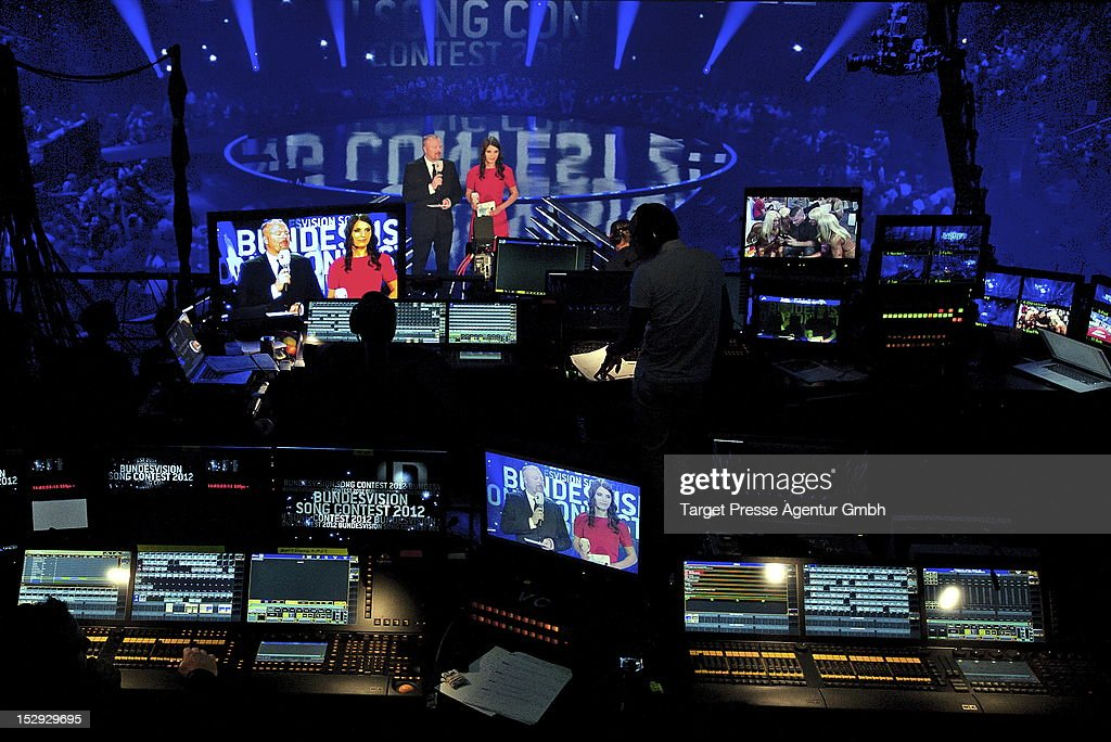 <a gi-track='captionPersonalityLinkClicked' href=/galleries/search?phrase=Stefan+Raab&family=editorial&specificpeople=242927 ng-click='$event.stopPropagation()'>Stefan Raab</a> and Sandra Riess hosts the 'Bundesvision Song Contest 2012' at the Max-Schmeling-Halle on September 28, 2012 in Berlin, Germany.