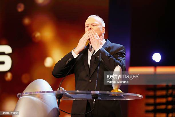 Stefan Raab speaks on stage after receiving the 'Ehrenpreis' at the 19th Annual German Comedy Awards at Coloneum on October 20 2015 in Cologne Germany
