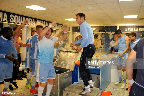 Stefan Radu celebrates with his team mates after the TIM Cup match between AS Roma and SS Lazio at Stadio Olimpico on April 4 2017 in Rome Italy
