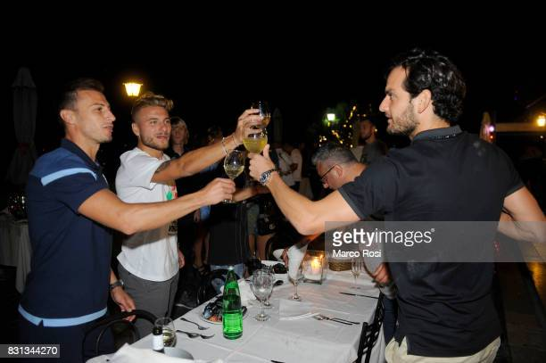 Stefan Radu Ciro Immobile and Marco Parolo of SS Lazio attend a party to celebrate their 23 victory over Juventus in the Italian Super Cup on August...