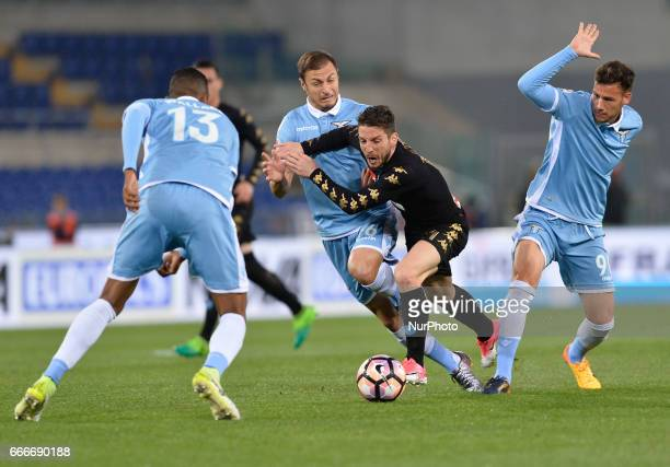 Stefan Radu Dries Mertens during the Italian Serie A football match between SS Lazio and AC Napoli at the Olympic Stadium in Rome on april 09 2017