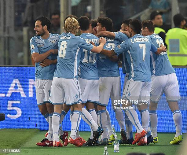 Stefan Radu of Lazio celebrates after scoring the opening goal during the TIM Cuo final match between SS Lazio and Juventus FC at Olimpico Stadium on...