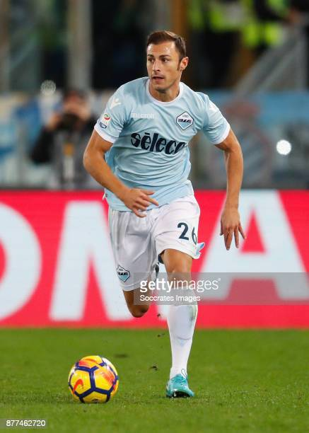 Stefan Radu of Lazio during the Italian Serie A match between AS Roma v Lazio at the Stadio Olimpico on November 18 2017 in Rome Italy