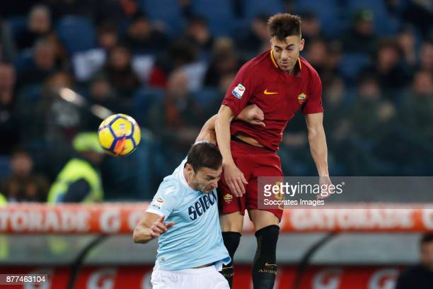 Stefan Radu of Lazio Stephan El Shaarawy of AS Roma during the Italian Serie A match between AS Roma v Lazio at the Stadio Olimpico on November 18...