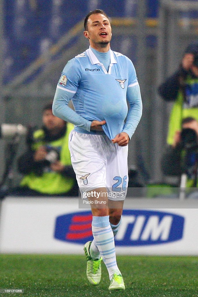 Stefan Radu of S.S. Lazio celebrates after scoring the opening goal during the TIM Cup match between S.S. Lazio and Calcio Catania at Stadio Olimpico on January 8, 2013 in Rome, Italy.