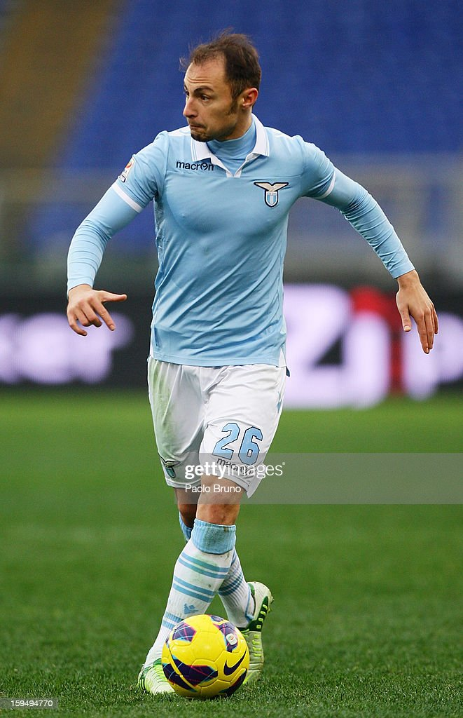 <a gi-track='captionPersonalityLinkClicked' href=/galleries/search?phrase=Stefan+Radu&family=editorial&specificpeople=4050253 ng-click='$event.stopPropagation()'>Stefan Radu</a> of S.S. Lazio in action during the Serie A match between S.S. Lazio and Atalanta BC at Stadio Olimpico on January 13, 2013 in Rome, Italy.