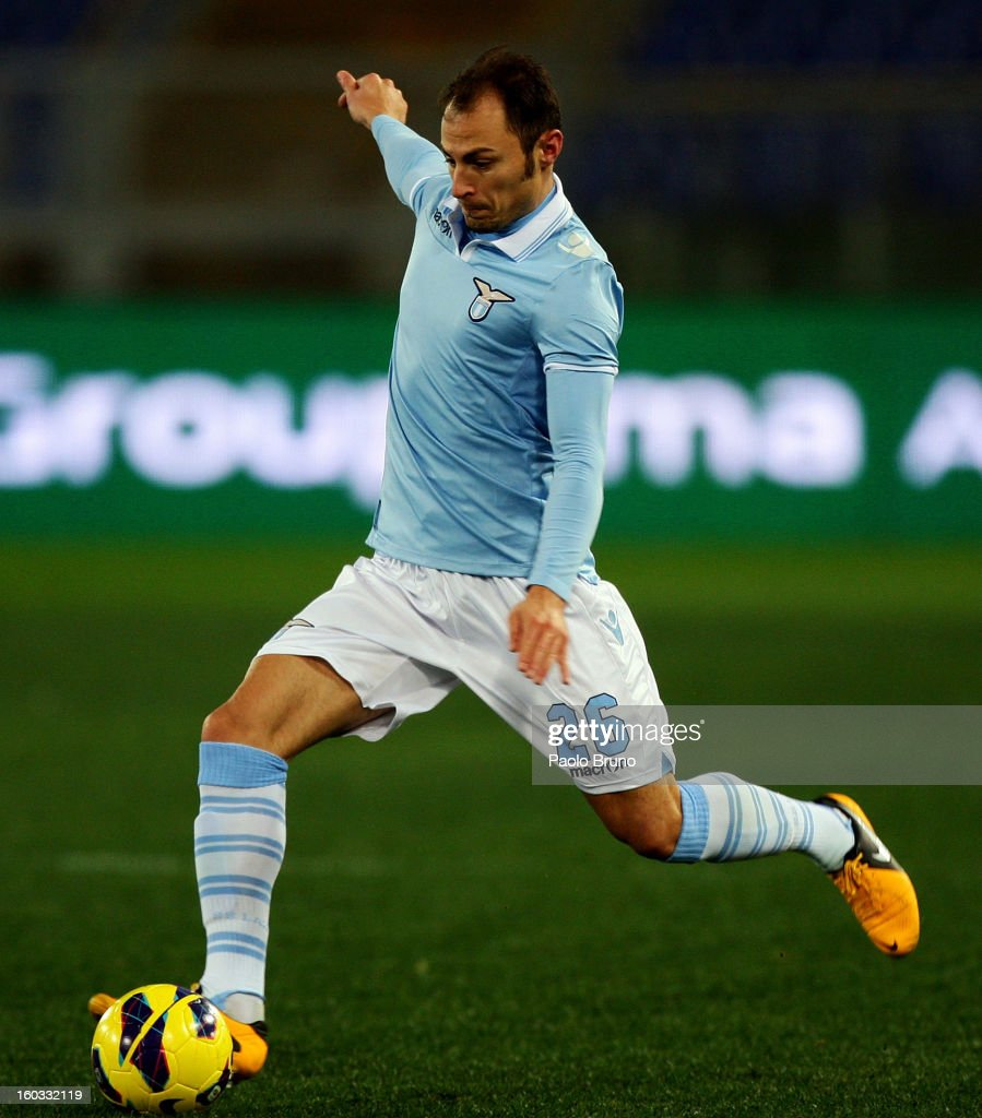 <a gi-track='captionPersonalityLinkClicked' href=/galleries/search?phrase=Stefan+Radu&family=editorial&specificpeople=4050253 ng-click='$event.stopPropagation()'>Stefan Radu</a> of S.S. Lazio in action during the Serie A match between S.S. Lazio and AC Chievo Verona at Stadio Olimpico on January 26, 2013 in Rome, Italy.