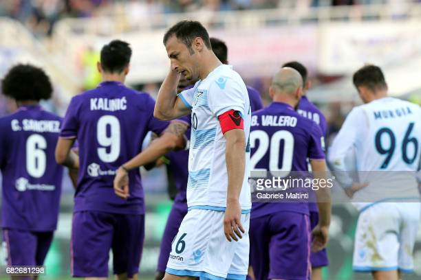 Stefan Radu of SS Lazio shows his dejection during the Serie A match between ACF Fiorentina and SS Lazio at Stadio Artemio Franchi on May 13 2017 in...