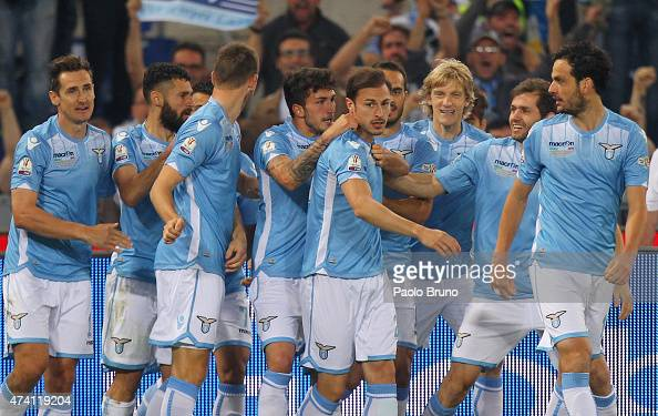 Stefan Radu with his teammates of SS Lazio celebrates after scoring the opening goal during the TIM Cup final match between SS Lazio and Juventus FC...