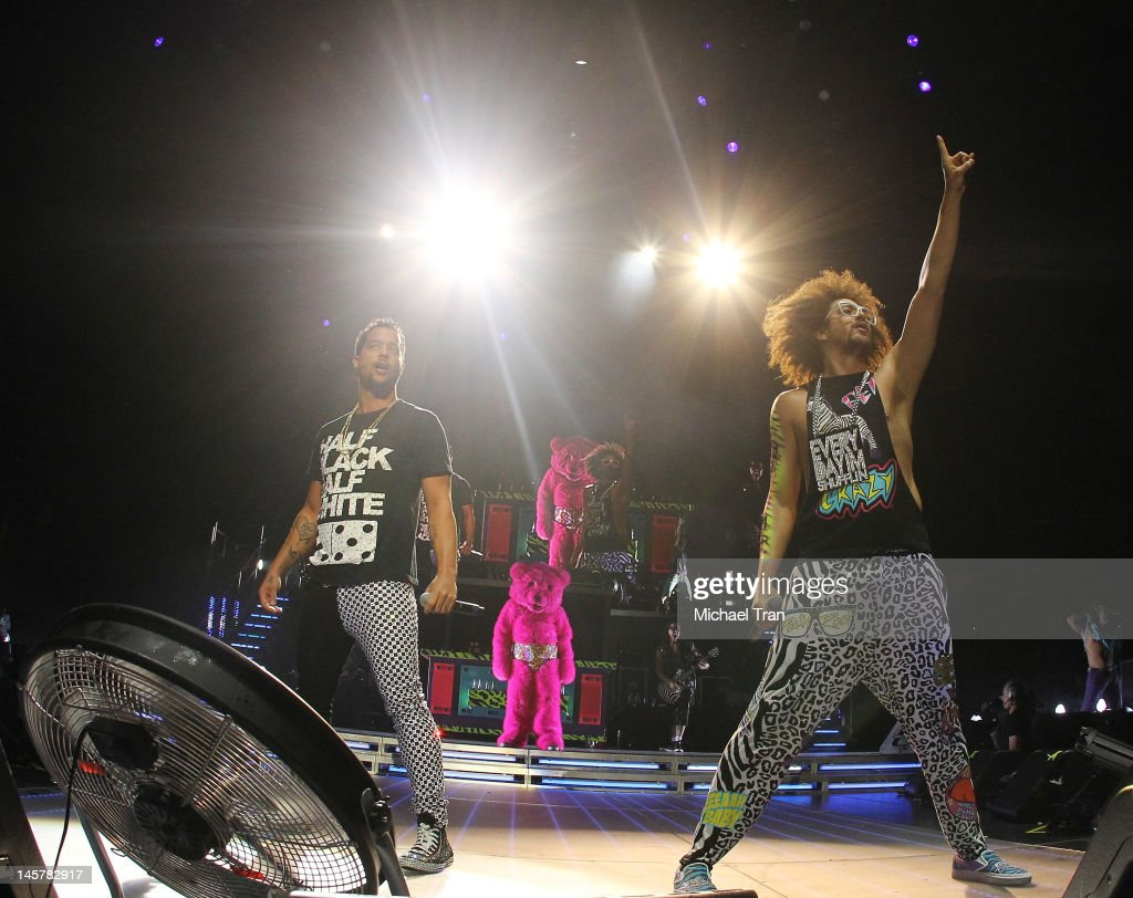 Stefan '<a gi-track='captionPersonalityLinkClicked' href=/galleries/search?phrase=Redfoo&family=editorial&specificpeople=5857552 ng-click='$event.stopPropagation()'>Redfoo</a>' Gordy and Skyler 'SkyBlu' Gordy of <a gi-track='captionPersonalityLinkClicked' href=/galleries/search?phrase=LMFAO&family=editorial&specificpeople=5419624 ng-click='$event.stopPropagation()'>LMFAO</a> perform onstage during their <a gi-track='captionPersonalityLinkClicked' href=/galleries/search?phrase=LMFAO&family=editorial&specificpeople=5419624 ng-click='$event.stopPropagation()'>LMFAO</a> 'Sorry For Party Rocking' Tour held at Staples Center on June 5, 2012 in Los Angeles, California.