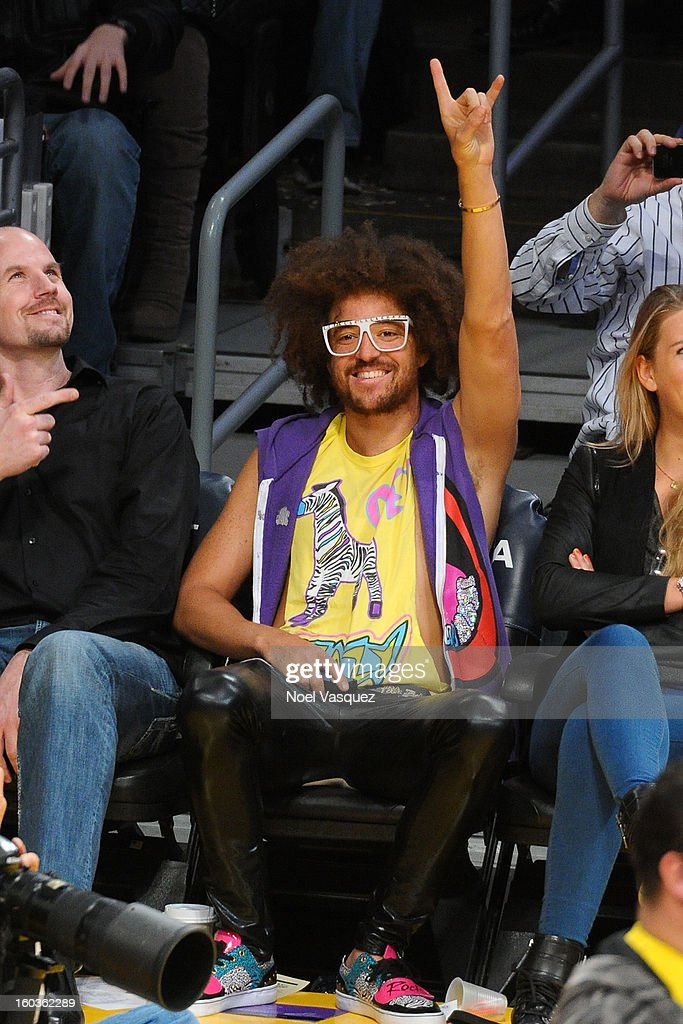 Stefan '<a gi-track='captionPersonalityLinkClicked' href=/galleries/search?phrase=Redfoo&family=editorial&specificpeople=5857552 ng-click='$event.stopPropagation()'>Redfoo</a>' Gordy attends a basketball game between the New Orleans Hornets and the Los Angeles Lakers at Staples Center on January 29, 2013 in Los Angeles, California.
