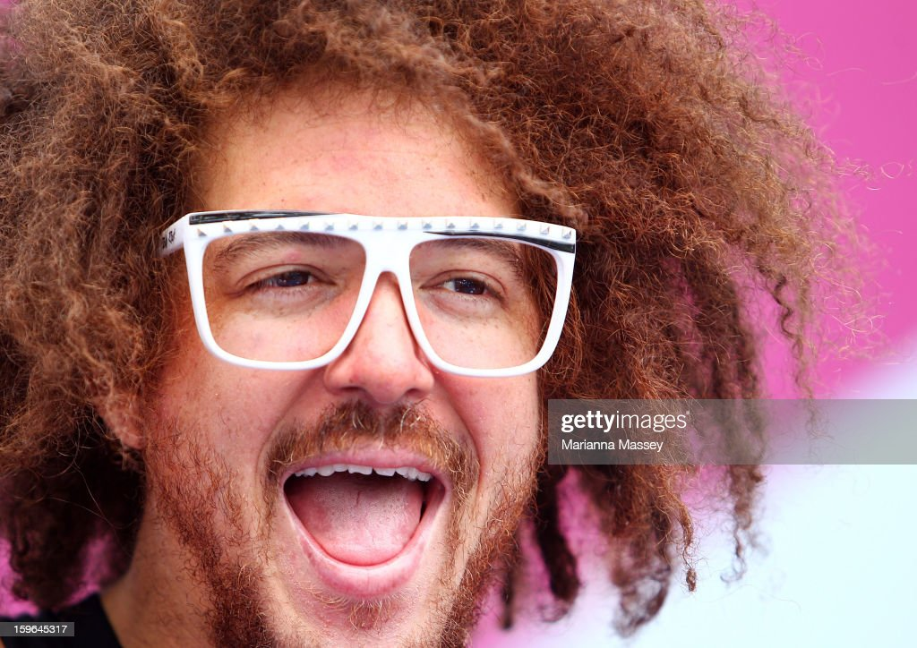 Stefan 'Redfoo' Gordy of the American electro duo LMFAO attends the MLC Hotshots session on Margaret Court during day five of the 2013 Australian...