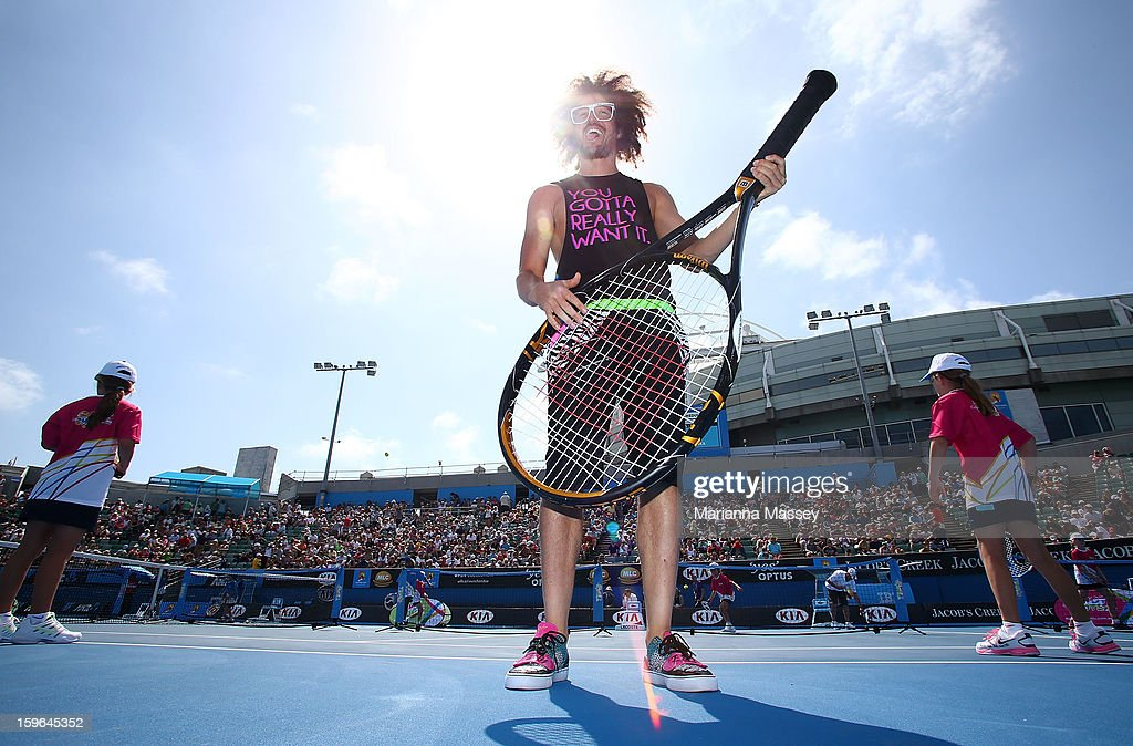 Stefan 'Redfoo' Gordy of the American electro duo LMFAO attends the MLC Hotshots session on Margaret Court during day five of the 2013 Australian Open at Melbourne Park on January 18, 2013 in Melbourne, Australia.