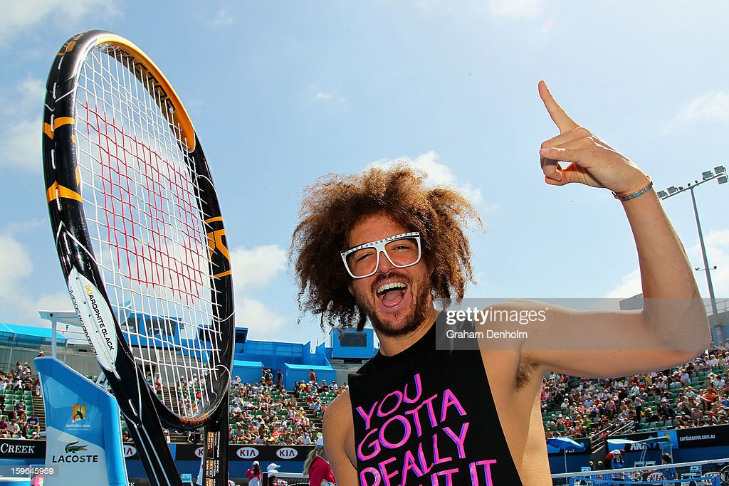 Stefan 'Redfoo' Gordy of the American electro duo LMFAO attends the MLC Hotshots session on Margaret Court Arena during day five of the 2013...