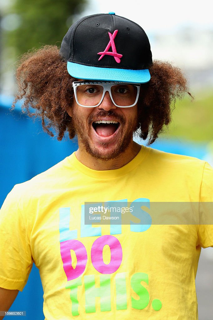 Stefan 'Redfoo' Gordy of the American electro duo LMFAO is seen during day nine of the 2013 Australian Open at Melbourne Park on January 22 2013 in...