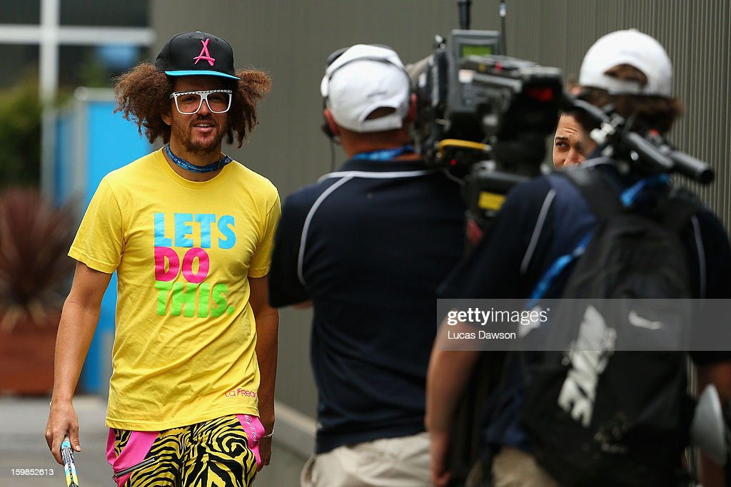 Stefan 'Redfoo' Gordy of the American electro duo LMFAO is seen during day nine of the 2013 Australian Open at Melbourne Park on January 22, 2013 in Melbourne, Australia.