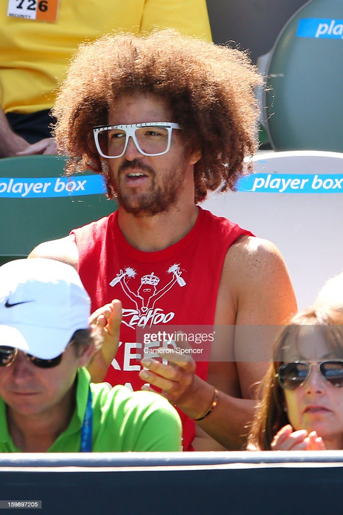Stefan 'Redfoo' Gordy watches the Quarterfinal match between Victoria Azarenka of Belarus and Svetlana Kuznetsova of Russia during day ten of the 2013 Australian Open at Melbourne Park on January 23, 2013 in Melbourne, Australia.
