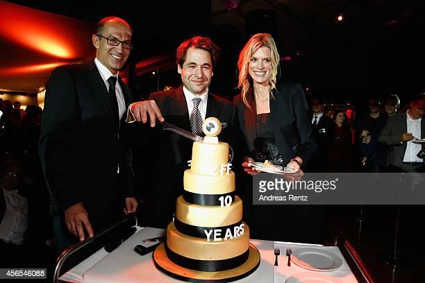 Stefan Regez Karl Spoerri and Nadja Schildknecht attend the 10 Years Anniversary ZFF Party during Day 8 of Zurich Film Festival 2014 on October 2...
