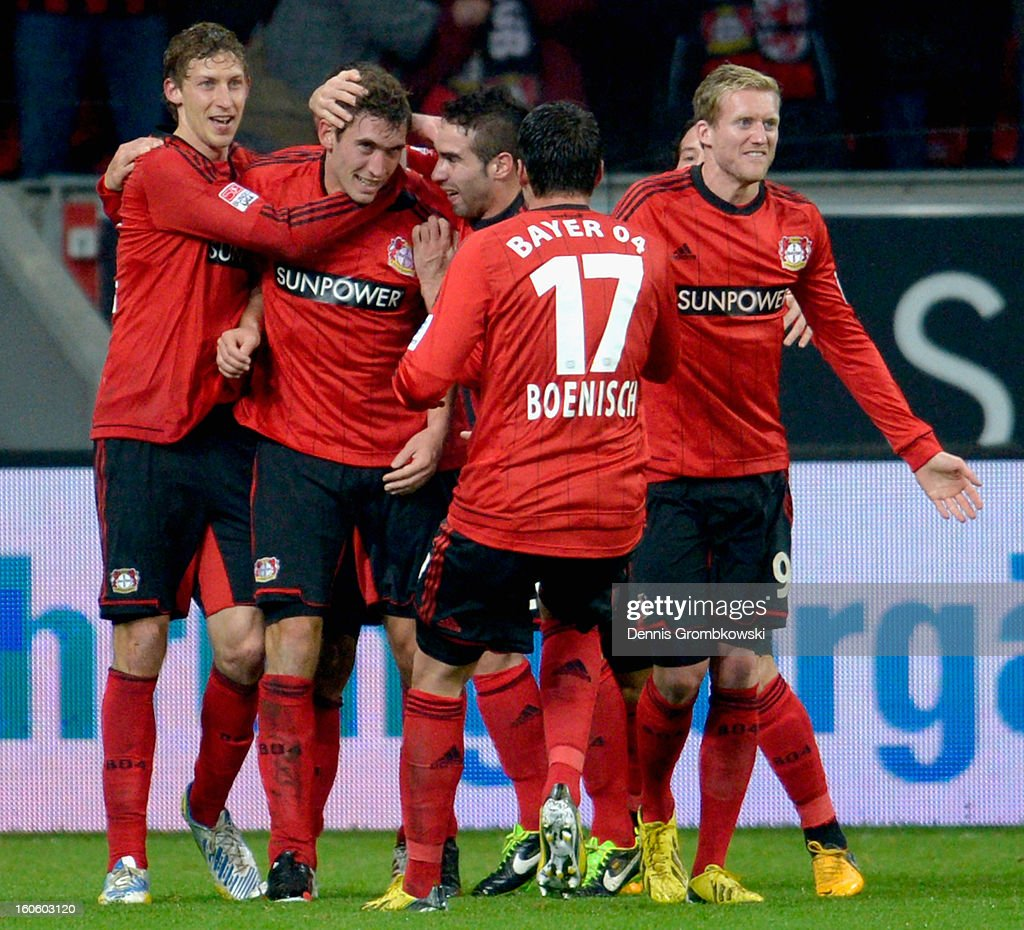 Stefan Reinartz of Leverkusen celebrates with teammates during the Bundesliga match between Bayer 04 Leverkusen and Borussia Dortmund at BayArena on February 3, 2013 in Leverkusen, Germany.