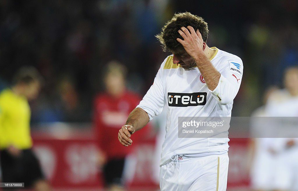 Stefan Reisinger of Duesseldorf reacts during the Bundesliga match between SC Freiburg and Fortuna Duesseldorf 1895 at MAGE SOLAR Stadium on February 10, 2013 in Freiburg im Breisgau, Germany.