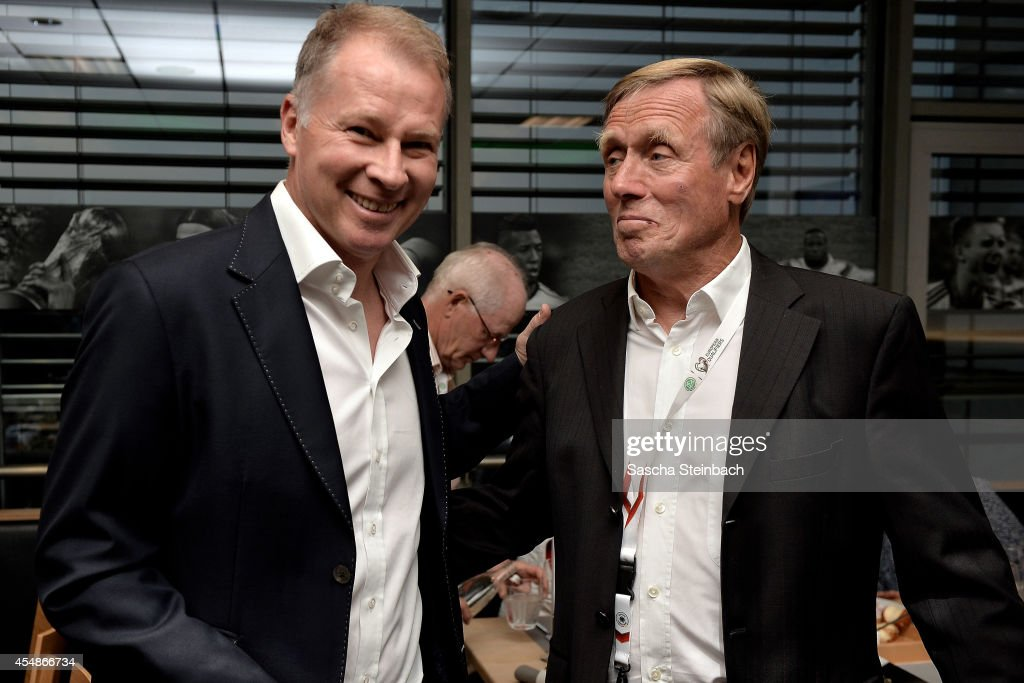 Stefan Reuter and Sigfried ''Siggi' Held attend the 'Club Of Former National Players' meeting prior to the EURO 2016 qualifier match between Germany...