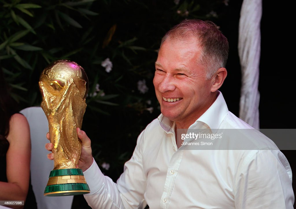 Stefan Reuter celebrates commemorating the FIFA World Championship 1990 final during the 2nd evening of the FIFA World Champions of 1990 meeting at...
