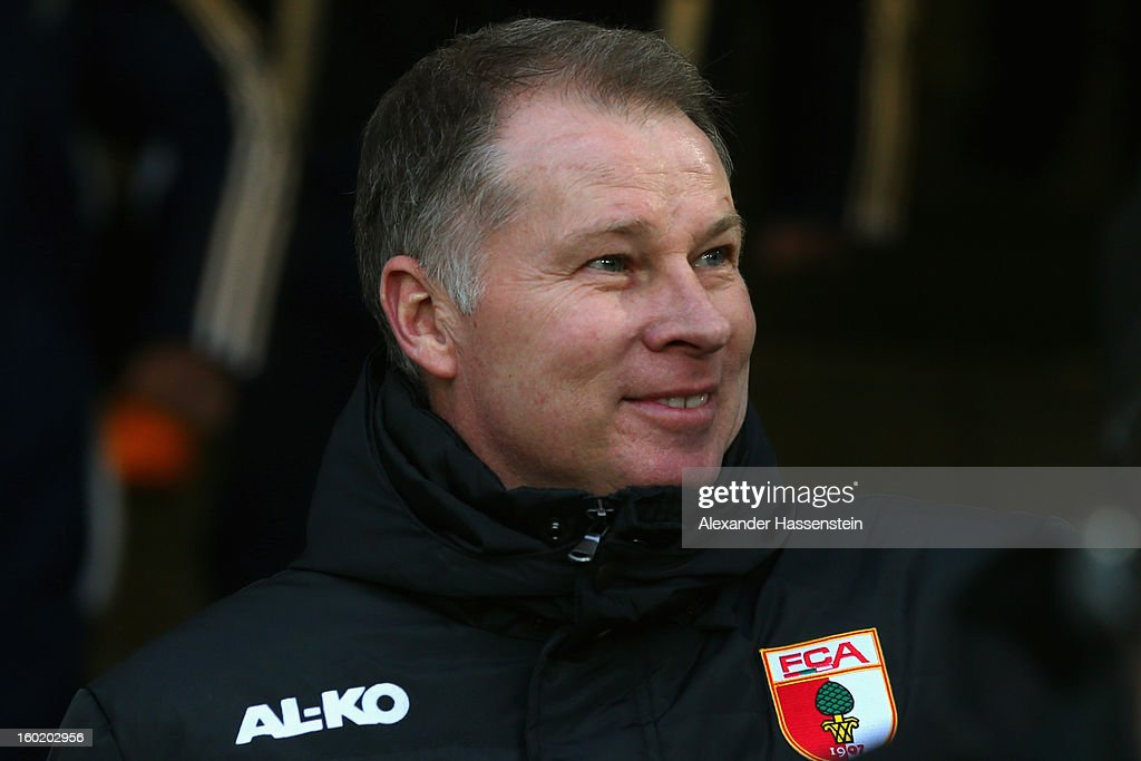 Stefan Reuter manager of Augsburg during the Bundesliga match between FC Augsburg and FC Schalke 04 at SGL Arena on January 26 2013 in Augsburg...