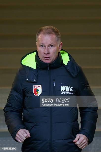 Stefan Reuter manager of Augsburg looks on prior to the Bundesliga match between FC Augsburg and 1 FSV Mainz 05 at WWK Arena on October 31 2015 in...