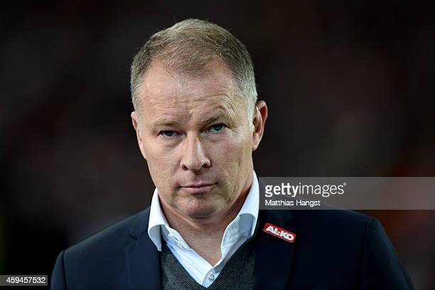 Stefan Reuter manager of Ausgburg looks on prior to the Bundesliga match between VfB Stuttgart and FC Augsburg at MercedesBenz Arena on November 23...