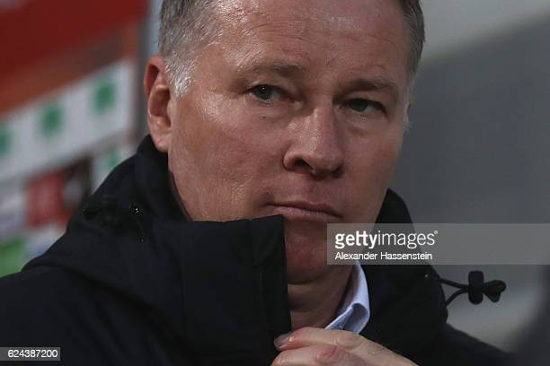 Stefan Reuter manager of Ausgburg reacts prior to the Bundesliga match between FC Augsburg and Hertha BSC at WWK Arena on November 19 2016 in...