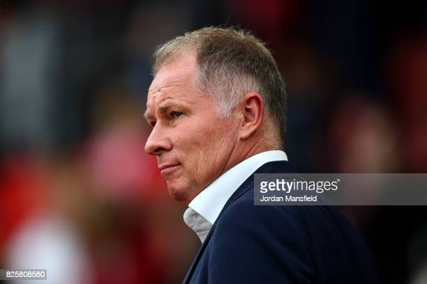 Stefan Reuter manager of FC Augsburg looks on during the PreSeason Friendly match between Southampton and FC Augsburg at St Mary's Stadium on August...