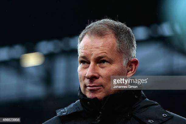 Stefan Reuter managing director of Augsburg looks on ahead of the Bundesliga match between FC Augsburg and Eintracht Braunschweig at SGL Arena on...