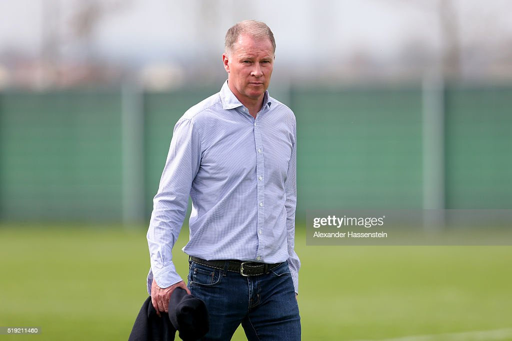 Stefan Reuter Sporting director of Augsburg looks on after a FC Augsburg Training session at WWK Arena on April 5 2016 in Augsburg Germany