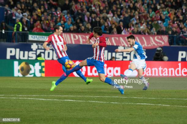 Stefan Savic and Diego Godín try to block the shoot Atletico de Madrid won 2 to 0 in the South Madrid Derby over CD Leganes two Goals of Fernando...