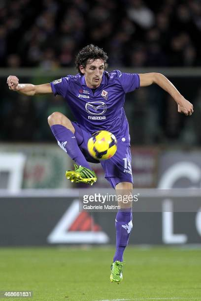 Stefan Savic of ACF Fiorentina in action during the Serie A matc between ACF Fiorentina and Atalanta BC at Stadio Artemio Franchi on February 8 2014...
