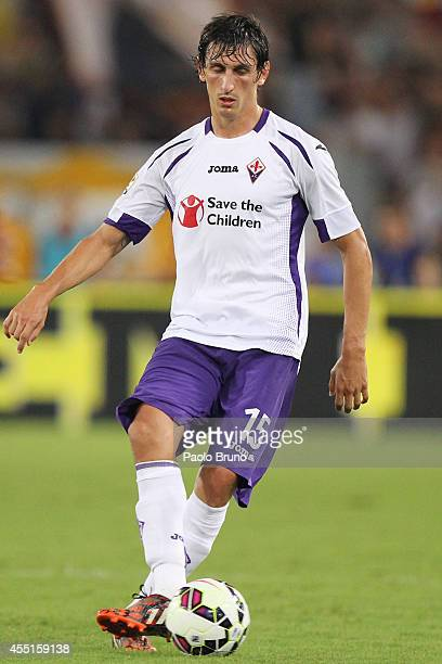Stefan Savic of ACF Fiorentina in action during the Serie A match between AS Roma and ACF Fiorentina at Stadio Olimpico on August 30 2014 in Rome...