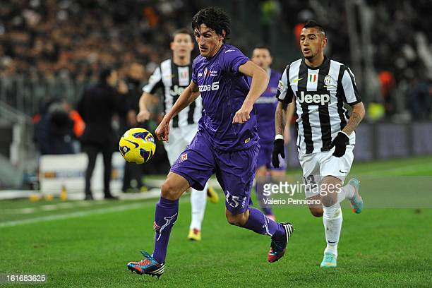Stefan Savic of ACF Fiorentina in action during the Serie A match between Juventus FC and ACF Fiorentina at Juventus Arena on February 9 2013 in...