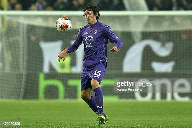 Stefan Savic of ACF Fiorentina in action during the UEFA Europa League Round of 16 match between Juventus and ACF Fiorentina at Juventus Arena on...
