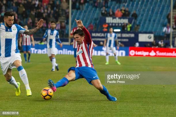 Stefan Savic of Atletico de Madrid cuts the pass Atletico de Madrid wins 2 to 0 in the South Madrid Derby over CD Leganes two Goals of Fernando Torres