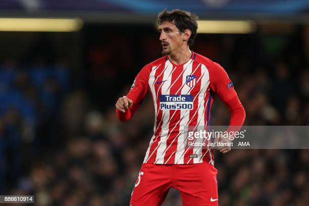 Stefan Savic of Atletico Madrid during the UEFA Champions League group C match between Chelsea FC and Atletico Madrid at Stamford Bridge on December...