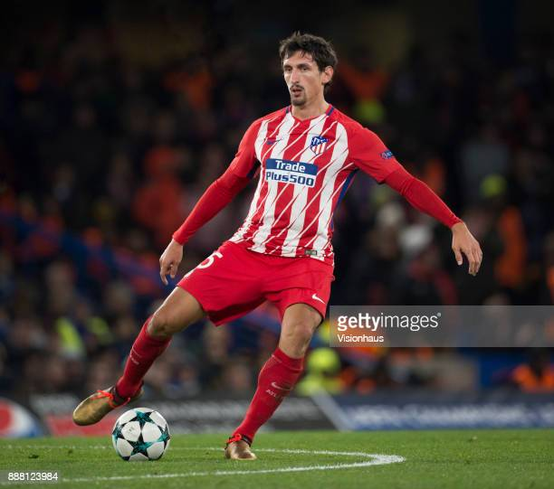 Stefan Savic of Atletico Madrid in action during the UEFA Champions League group C match between Chelsea FC and Atletico Madrid at Stamford Bridge on...