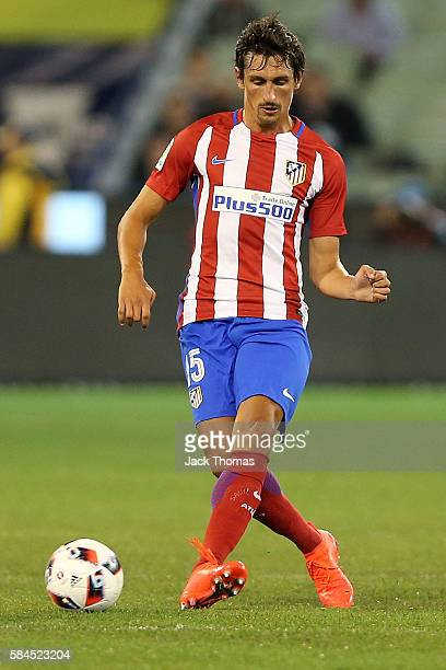 Stefan Savic of Atletico Madrid runs with the ball during 2016 International Champions Cup Australia match between Tottenham Hotspur and Atletico de...