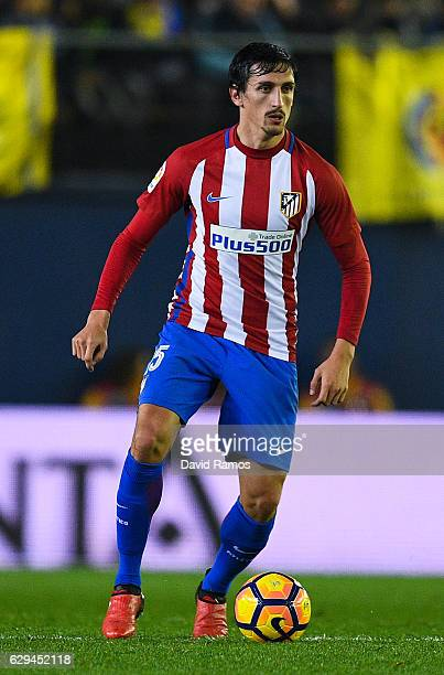 Stefan Savic of Club Atletico de Madrid runs with the ball during the La Liga match between Villarreal CF and Club Atletico de Madrid at El Madrigal...