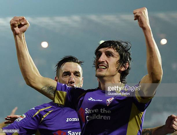 Stefan Savic of Fiorentina ceebrates after scoring the goal 02 during the Serie A match between AC Cesena and ACF Fiorentina at Dino Manuzzi Stadium...